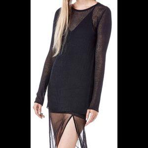 Black Mesh Maxi/ Black sweater